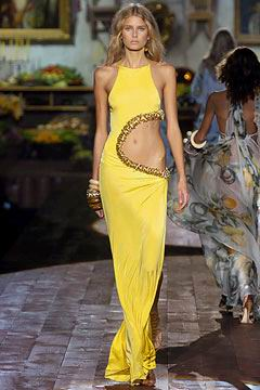 stunning yellow evening gown  R-Cavalli